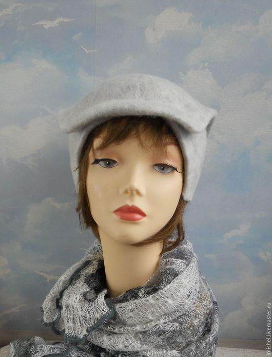 """Шляпы ручной работы. Ярмарка Мастеров - ручная работа. Купить шляпка """"Мраморная"""". Handmade. Белый, шляпы, шерсть меринос"""