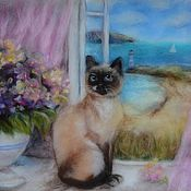 """Картины и панно ручной работы. Ярмарка Мастеров - ручная работа """"Кошка на окошке"""". Handmade."""