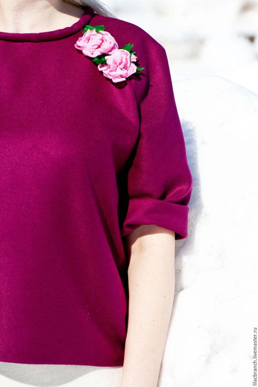 """Кофты и свитера ручной работы. Ярмарка Мастеров - ручная работа. Купить Пуловер """"Фуксия с Розами"""". Handmade. Фуксия, стильная штучка"""