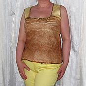 Одежда ручной работы. Ярмарка Мастеров - ручная работа Валяный топ желто-бежевый. Handmade.