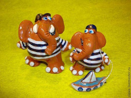 Статуэтки ручной работы. Ярмарка Мастеров - ручная работа. Купить Морячки. Handmade. Синий, слон, морской, глазурь