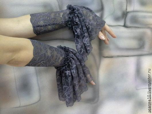 """Варежки, митенки, перчатки ручной работы. Ярмарка Мастеров - ручная работа. Купить Съемные Кружевные манжеты стрейч """"Сливовый графит"""" безразмерные. Handmade."""