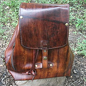 Сумки и аксессуары handmade. Livemaster - original item Backpack leather mahogany. Handmade.