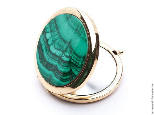 Декорированные зеркальца ручной работы. Ярмарка Мастеров - ручная работа. Купить Карманное зеркальце с натуральным камнем. Handmade. Морская волна