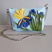 Сумки и аксессуары handmade. Livemaster - original item Leather bag .Bag with applique.Mini Blue Iris. Handmade.