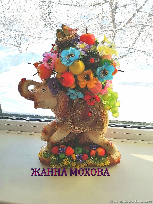 Слон для интерьера с фруктами, Композиции, Новосибирск,  Фото №1