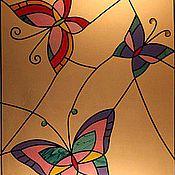 """Для дома и интерьера ручной работы. Ярмарка Мастеров - ручная работа Витраж """"Бабочки"""". Handmade."""
