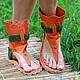 Обувь ручной работы. Ярмарка Мастеров - ручная работа. Купить Сандалии высокие из кожи и замши Оранж с зеленым через палец. Handmade.