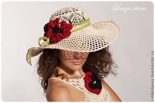 """Шляпы ручной работы. Ярмарка Мастеров - ручная работа. Купить Шляпа """"Маки"""". Handmade. Шляпа летняя, design aloxa, маки"""