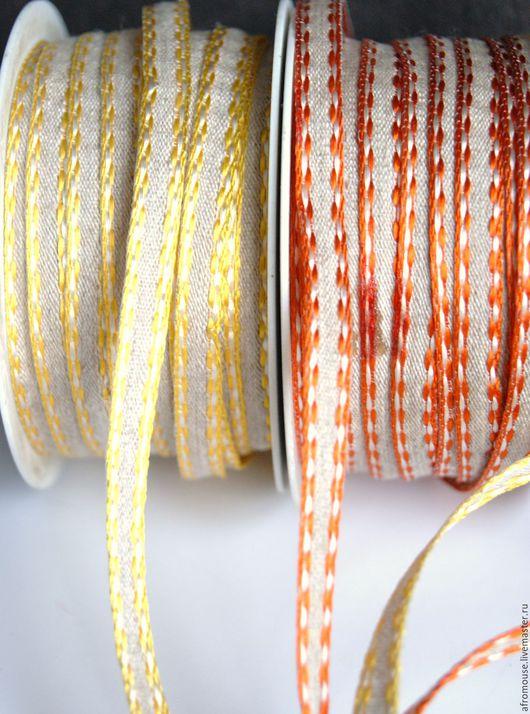 лента `Узкая льняная с отстрочкой`  7 мм