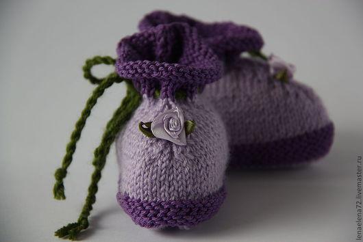 Для новорожденных, ручной работы. Ярмарка Мастеров - ручная работа. Купить Пинетки. Handmade. Сиреневый, пинетки для девочки, пинетки вязаные
