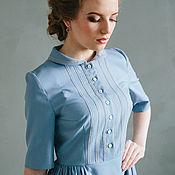 Платья ручной работы. Ярмарка Мастеров - ручная работа Голубое платье с кружевом и круглым воротником. Handmade.