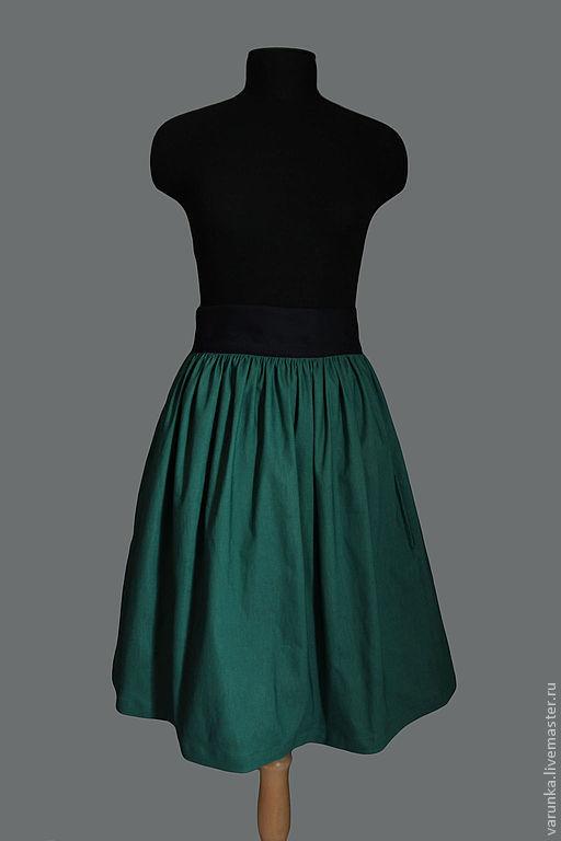 Юбки ручной работы. Ярмарка Мастеров - ручная работа. Купить зеленая юбка). Handmade. Зеленый, юбка пышная, винтажная юбка