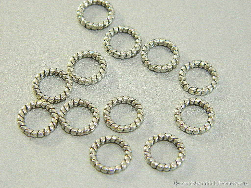 Twisted rings are not detachable, silver color, 8 mm. 10 PCs, Accessories4, Saratov,  Фото №1