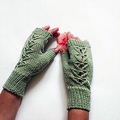 Аксессуары handmade. Livemaster - original item Fishnet fingerless gloves light green. Handmade.