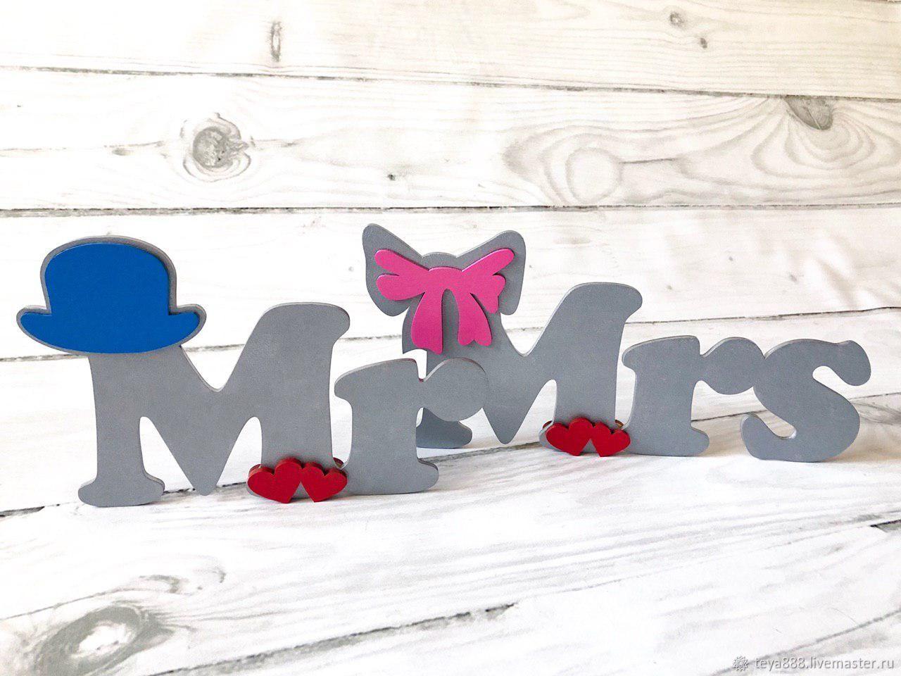 Подарки на свадьбу ручной работы. Ярмарка Мастеров - ручная работа. Купить Декор на свадьбу-украшение зала,деревянный знак Mr & Mrs. Handmade.