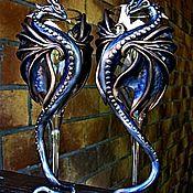 """Бокалы ручной работы. Ярмарка Мастеров - ручная работа """"Лазоревые драконы"""". Handmade."""