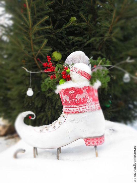 """Новый год 2017 ручной работы. Ярмарка Мастеров - ручная работа. Купить конёк """"Волшебные олени"""". Handmade. Белый, фигурки, арматура"""