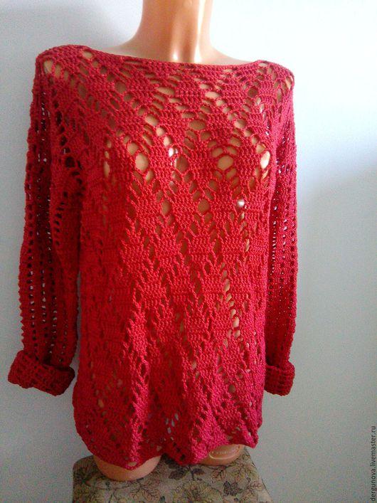Кофты и свитера ручной работы. Ярмарка Мастеров - ручная работа. Купить Пуловер. Handmade. Ярко-красный, вязаный пуловер