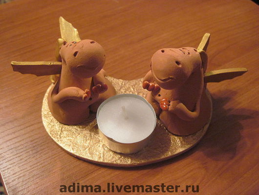 Подарочные наборы ручной работы. Ярмарка Мастеров - ручная работа. Купить Дракончики со свечой. Handmade. Подарок новогодний
