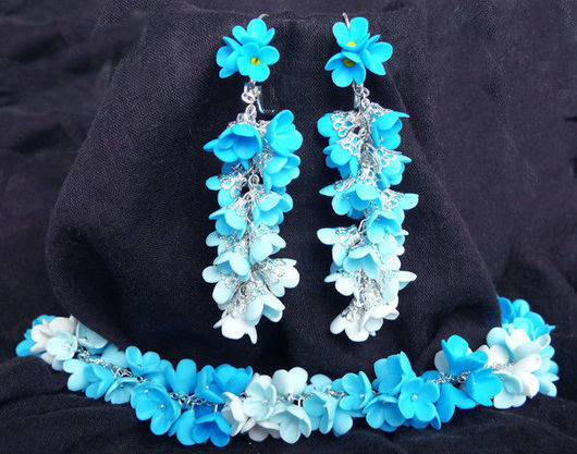"""Серьги ручной работы. Ярмарка Мастеров - ручная работа. Купить Комплект  """"Голубая лагуна"""". Handmade. Серьги, цветы"""