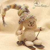 """Куклы и игрушки ручной работы. Ярмарка Мастеров - ручная работа Валяный зайчик """"Ух-ты, лыжи!"""". Handmade."""
