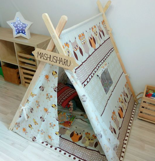 """Детская ручной работы. Ярмарка Мастеров - ручная работа. Купить Палатка """"полярная сова"""". Handmade. Совы, сова, ткань в совы"""