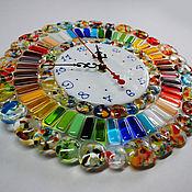 """Для дома и интерьера ручной работы. Ярмарка Мастеров - ручная работа часы """"Радуга"""", стекло, фьюзинг. Handmade."""