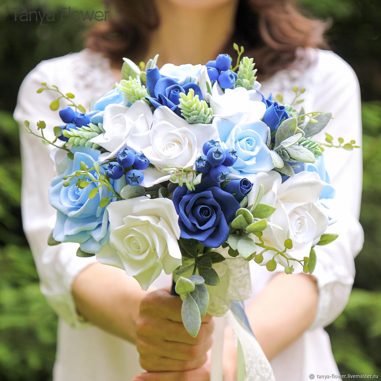 324520b5622cf64 Свадебные цветы ручной работы. Ярмарка Мастеров - ручная работа. Купить Бело  голубой свадебный букет ...