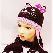"""Работы для детей, ручной работы. Ярмарка Мастеров - ручная работа Комплект (шапка+шарф) """"Кошки-мышки"""". Handmade."""