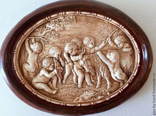 """Люди, ручной работы. Ярмарка Мастеров - ручная работа. Купить Панно из гипса """"Ангелочки"""". Handmade. Коричневый, бежево-коричневый"""
