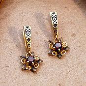 Украшения handmade. Livemaster - original item Forget-me-not Earrings, Red Cubic Zirconia. Gold plated 999 art. 3129901. Handmade.
