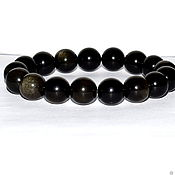Украшения handmade. Livemaster - original item Bracelet made of natural black obsidian (M). Handmade.