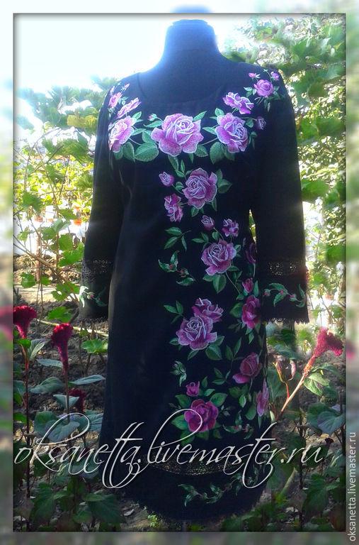 """Платья ручной работы. Ярмарка Мастеров - ручная работа. Купить Платье """"Розы в ночи"""". Handmade. Вышиванка, вышиванку купить"""