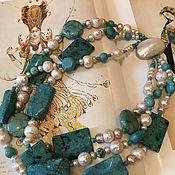 Колье ручной работы. Ярмарка Мастеров - ручная работа Ожерелье из жемчуга и бирюзы Океанида. Handmade.
