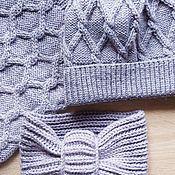 Аксессуары handmade. Livemaster - original item Set hat/stripe/Snood