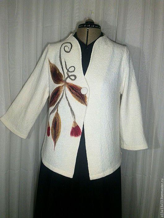 Пиджаки, жакеты ручной работы. Ярмарка Мастеров - ручная работа. Купить Шерстяной Жакет У-119. Handmade. Белый