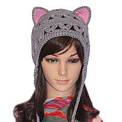 Аксессуары handmade. Livemaster - original item Hat with Cat ears, lace knitted ladies damizean. Handmade.