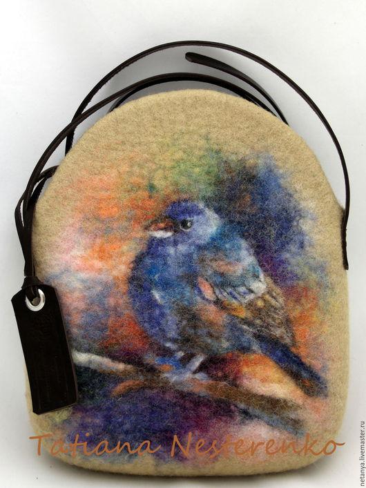 """Женские сумки ручной работы. Ярмарка Мастеров - ручная работа. Купить Сумка """"Синяя птица счастья или к чему снится зяблик?""""(резерв). Handmade."""