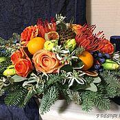 Композиции ручной работы. Ярмарка Мастеров - ручная работа Новогодняя композиция на стол с апельсинами. Handmade.