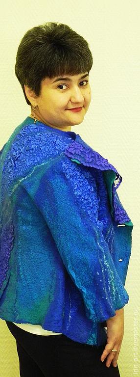 Пиджаки, жакеты ручной работы. Ярмарка Мастеров - ручная работа. Купить Жакет валяный УЛЬТРАМАРИН. Handmade. Валяный жакет, синий
