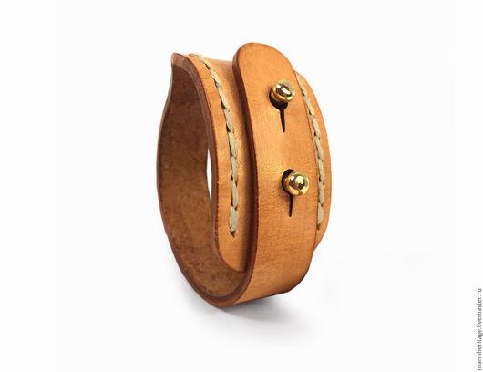 Браслеты ручной работы. Ярмарка Мастеров - ручная работа. Купить Кожаный браслет DOUBLE SB WI - натуральный со швом. Handmade.