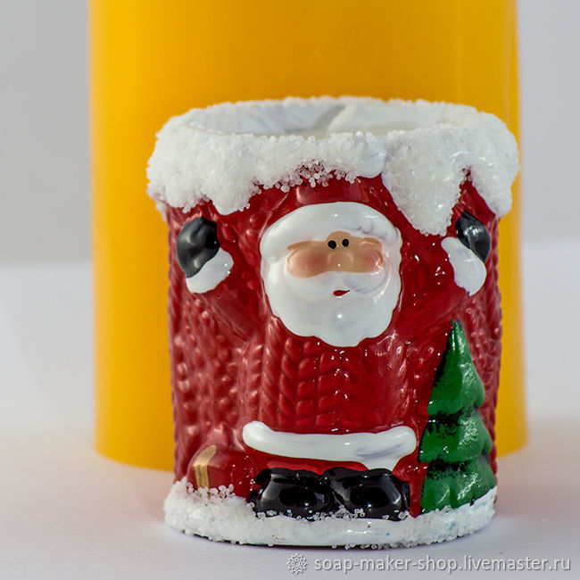 Silicone mold for soap 'Cylinder with Santa 3D', Form, Shahty,  Фото №1