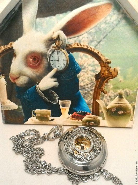 """Часы ручной работы. Ярмарка Мастеров - ручная работа. Купить Часы карманные """"Серебристый стимпанк"""". Handmade. Серебряный, подарок"""