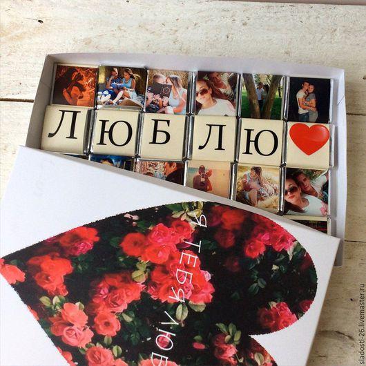 Персональные подарки ручной работы. Ярмарка Мастеров - ручная работа. Купить Коробочка шоколад с фото 12шт и 24шт - 14 февраля - подарок на 14. Handmade.