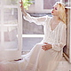 Платья ручной работы. Ярмарка Мастеров - ручная работа. Купить Шифоновое платье с кружевом. Handmade. Белый, авторское платье