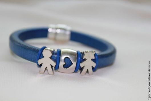 Браслеты ручной работы. Ярмарка Мастеров - ручная работа. Купить браслет Двое. Handmade. Тёмно-синий, подарок на 14 февраля