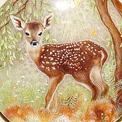 "Для дома и интерьера handmade. Livemaster - original item Jewelry box made of stone hand painted ""Fawn in the Forest"". Handmade."