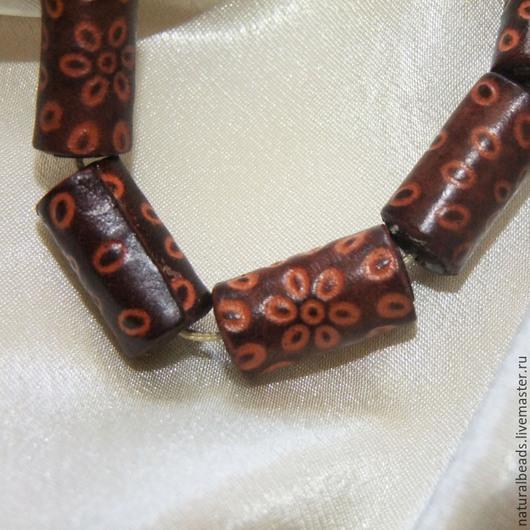 Для украшений ручной работы. Ярмарка Мастеров - ручная работа. Купить ЦИЛИНДР коричневый бусины натуральная кожа. Handmade. Коричневый