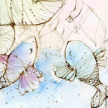 Картины и панно ручной работы. Ярмарка Мастеров - ручная работа Рыбки и русалочка. Handmade.
